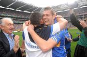 5 September 2010; Seamus Callanan, Tipperary, celebrates with manager Liam Sheedy at the end of the game. GAA Hurling All-Ireland Senior Championship Final, Kilkenny v Tipperary, Croke Park, Dublin. Picture credit: Paul Mohan / SPORTSFILE