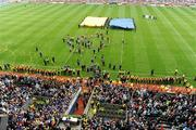 5 September 2010; Tipperary captain Eoin Kelly makes his speech in front of an empty Croke Park pitch which wasn't invaded by supporters at the final whistle. GAA Hurling All-Ireland Senior Championship Final, Kilkenny v Tipperary, Croke Park, Dublin. Picture credit: Brendan Moran / SPORTSFILE
