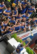 5 September 2010; The Tipperary team celebrate as captain Eoin Kelly lifts the Liam MacCarthy Cup after the game. GAA Hurling All-Ireland Senior Championship Final, Kilkenny v Tipperary, Croke Park, Dublin. Picture credit: Brendan Moran / SPORTSFILE