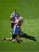 17 July 2016; Dublin players, left to right, Michael Darragh MacAuley, John Small, and Eric Lowndes in action against Ray Connellan, left, and Denis Corroon of Westmeath during the Leinster GAA Football Senior Championship Final match between Dublin and Westmeath at Croke Park in Dubin. Photo by Daire Brennan/Sportsfile