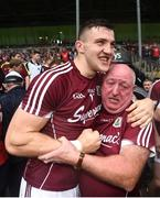 17 July 2016; Damien Comer of Galway celebrates with supporter Gerry Moylette, from Curragh West, Dunmore, Galway, during the Connacht GAA Football Senior Championship Final Replay match between Galway and Roscommon at Elverys MacHale Park in Castlebar, Co Mayo. Photo by Stephen McCarthy/Sportsfile
