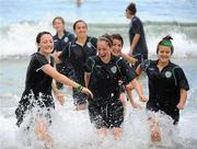 8 September 2010; Republic of Ireland players, from left, Megan Campbell, Emma Hansberry, Dora Gorman, Ciara O'Brien, Tayna Kennedy and Stacie Donnelly relax in the sea at Maracas Bay ahead of their second group stage game of the FIFA U-17 Women's World Cup, against Canada, on Thursday. Republic of Ireland at the FIFA U-17 Women's World Cup - Wednesday 8th September, Maracas Bay, Port of Spain, Trinidad. Picture credit: Stephen McCarthy / SPORTSFILE