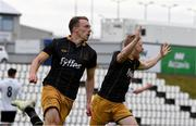20 July 2016; David McMillan of Dundalk, left, celebrates after scoring, alongside team-mate Daryl Horgan, during UEFA Champions League Second Qualifying Round 2nd Leg match between FH Hafnarfjordur and Dundalk at the Kaplakrikavollur Stadium in Hafnarfjörður, Iceland. Photo by Ciaran Culligan/Sportsfile