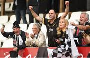 20 July 2016; Dundalk supporters celebrate during the UEFA Champions League Second Qualifying Round 2nd Leg match between FH Hafnarfjordur and Dundalk at the Kaplakrikavollur Stadium in Hafnarfjörður, Iceland. Photo by Ciaran Culligan/Sportsfile