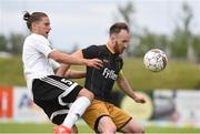 20 July 2016; Stephen O'Donnell of Dundalk and Pétur Vidarsson of FH Hafnarfjordur during the UEFA Champions League Second Qualifying Round 2nd Leg match between FH Hafnarfjordur and Dundalk at the Kaplakrikavollur Stadium in Hafnarfjörður, Iceland. Photo by Ciaran Culligan/Sportsfile