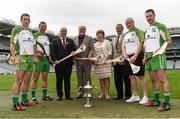 21 July 2016; Uachtarán Chumann Lúthchleas Gael Aogán Ó Fearghail, Sponsor Martin Donnelly, Miriam O'Callaghan, Camogie Representative, and Humphrey Kelleher, Chairman of the National Poc Fada Committee, with players, from left, James McInerney, Clare, Brendan Cummins, Tippeary,  Darren Renehan, Dublin, and Colm Callanan, Galway, in attendance at the lauch of the M. Donnelly GAA All-Ireland Poc Fada at Croke park in Dublin. Photo by David Maher/Sportsfile