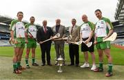 21 July 2016; Uachtarán Chumann Lúthchleas Gael Aogán Ó Fearghail, Sponsor Martin Donnelly and Humphrey Kelleher, Chairman of the National Poc Fada Committee, with players, from left, James McInerney, Clare, Brendan Cummins, Tippeary, Darren Renehan, Dublin, and Colm Callanan, Galway, in attendance at the lauch of the M. Donnelly GAA All-Ireland Poc Fada at Croke park in Dublin. Photo by David Maher/Sportsfile