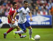 21 July 2016; Yuriy Habdovda of Dinamo Minsk in action against Billy Dennehy of St Patrick's Athletic during the UEFA Europa League Second Qualifying Round 2nd Leg match between St Patrick's Athletic and Dinamo Minsk at Richmond Park in Inchicore, Dublin. Photo by David Fitzgerald/Sportsfile