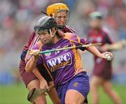 12 September 2010; Ursula Jacob, Wexford, in action against Sarah Dervan, Galway. Gala All-Ireland Senior Camogie Championship Final, Galway v Wexford, Croke Park, Dublin. Picture credit: David Maher / SPORTSFILE