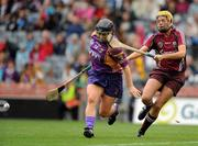 12 September 2010; Ursula Jacob, Wexford, in action against Sarah Dervan, Galway. Gala All-Ireland Senior Camogie Championship Final, Galway v Wexford, Croke Park, Dublin. Picture credit: Oliver McVeigh / SPORTSFILE
