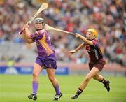 12 September 2010; Una Leacy, Wexford, in action against Sarah Dervan, Galway. Gala All-Ireland Senior Camogie Championship Final, Galway v Wexford, Croke Park, Dublin. Picture credit: Oliver McVeigh / SPORTSFILE
