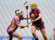 12 September 2010; Sarah Dervan, Galway, in action against Kate Kelly, Wexford. Gala All-Ireland Senior Camogie Championship Final, Galway v Wexford, Croke Park, Dublin. Picture credit: Paul Mohan / SPORTSFILE