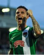 21 July 2016; Gavin Holohan of Cork City celebrates as he makes his way off the pitch after the UEFA Europa League Second Qualifying Round 2nd Leg match between Cork City and BK Hacken at Turners Cross in Cork. Photo by Eóin Noonan/Sportsfile