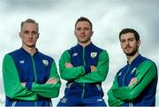 22 July 2016; Swim Ireland team-mates from left, Shane Ryan, Oliver Dingley and Nicholas Quinn during the Swim Ireland Olympics Media Day at St Catherine's Community Centre in Marrowbone Lane, Dublin. Photo by Sam Barnes/Sportsfile