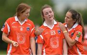 23 July 2016; A dejected Catherine Marley of Armagh is consoled by team mates, Aveen Donaldson, left, and Lauren Sheridan after the TG4 Ladies Football All-Ireland Senior Championship Preliminary Round match between Armagh and Waterford at Conneff Park in Clane, Co Kildare. Photo by Eóin Noonan/Sportsfile
