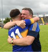 23 July 2016; Tipperary manager Liam Kearns celebrates with Kevin O'Halloran after the final whistle of the GAA Football All-Ireland Senior Championship, Round 4A, game at Kingspan Breffni Park in Co Cavan. Photo by Oliver McVeigh/Sportsfile