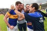 23 July 2016; Conor Sweeney and Kevin O'Halloran of Tipperary celebrate with supporters after the final whistle after the GAA Football All-Ireland Senior Championship, Round 4A, game at Kingspan Breffni Park in Co Cavan. Photo by Oliver McVeigh/Sportsfile
