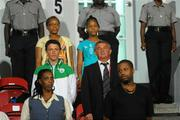 13 September 2010; Republic of Ireland manager Noel King, who is serving a one match touchline ban, watches on from the stand, with his son Brian to his right. FIFA U-17 Women's World Cup Group Stage, Republic of Ireland v Ghana, Dwight Yorke Stadium, Scarborough, Tobago, Trinidad & Tobago. Picture credit: Stephen McCarthy / SPORTSFILE