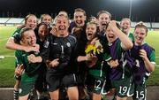 13 September 2010; Republic of Ireland players, from left, Harriet Scott, Ciara O'Brien, Megan Campbell, Dora Gorman, goalkeeper, Grace Moloney, Denise O'Sullivan, Amanda Budden, Stacie Donnelly, Jessica Gleeson, Rebecca Kearney, Emma Hansberry and Kerry Glynn celebrate their side's 3-0 victory over Ghana, and subsequent qualification for the quarter-final. FIFA U-17 Women's World Cup Group Stage, Republic of Ireland v Ghana, Dwight Yorke Stadium, Scarborough, Tobago, Trinidad & Tobago. Picture credit: Stephen McCarthy / SPORTSFILE