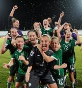 13 September 2010; Republic of Ireland players, from left, Ciara O'Brien, Jillian Maloney, Harriet Scott, Megan Campbell, Emma Hansberry, goalkeeper, Grace Moloney, Jennifer Byrne, Denise O'Sullivan, Amanda Budden and Stacie Donnelly celebrate their side's 3-0 victory over Ghana, and subsequent qualification for the quarter-final. FIFA U-17 Women's World Cup Group Stage, Republic of Ireland v Ghana, Dwight Yorke Stadium, Scarborough, Tobago, Trinidad & Tobago. Picture credit: Stephen McCarthy / SPORTSFILE