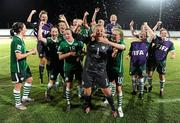 13 September 2010; Republic of Ireland players, from left, Ciara O'Brien, Jillian Maloney, Megan Campbell, Dora Gorman, Harriet Scott, Jennifer Byrne, goalkeeper, Grace Moloney, Amanda Budden, Denise O'Sullivan, Rebecca Kearney and Kerry Glynn celebrate their side's 3-0 victory over Ghana, and subsequent qualification for the quarter-final. FIFA U-17 Women's World Cup Group Stage, Republic of Ireland v Ghana, Dwight Yorke Stadium, Scarborough, Tobago, Trinidad & Tobago. Picture credit: Stephen McCarthy / SPORTSFILE