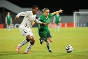 13 September 2010; Harriet Scott, Republic of Ireland, in action against Sherifatu Sumaila, Ghana. FIFA U-17 Women's World Cup Group Stage, Republic of Ireland v Ghana, Dwight Yorke Stadium, Scarborough, Tobago, Trinidad & Tobago. Picture credit: Stephen McCarthy / SPORTSFILE