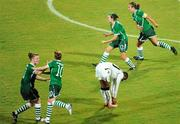 13 September 2010; Stacie Donnelly, Republic of Ireland, 12, celebrates after scoring her side's second goal, with team-mates, from left, Aileen Gilroy, Denise O'Sullivan and Dora Gorman as Ivy Kolli, Ghana, falls dejected. FIFA U-17 Women's World Cup Group Stage, Republic of Ireland v Ghana, Dwight Yorke Stadium, Scarborough, Tobago, Trinidad & Tobago. Picture credit: Stephen McCarthy / SPORTSFILE