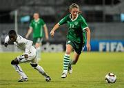 13 September 2010; Siobhan Kileen, Republic of Ireland, in action against Cynthia Yiadom, Ghana. FIFA U-17 Women's World Cup Group Stage, Republic of Ireland v Ghana, Dwight Yorke Stadium, Scarborough, Tobago, Trinidad & Tobago. Picture credit: Stephen McCarthy / SPORTSFILE