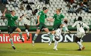13 September 2010; Republic of Ireland players, from left, Aileen Gilroy, Jennifer Byrne and Denise O'Sullivan contest a corner-kick with Linda Addai, Rebecca Asante and Regina Antwi, Ghana. FIFA U-17 Women's World Cup Group Stage, Republic of Ireland v Ghana, Dwight Yorke Stadium, Scarborough, Tobago, Trinidad & Tobago. Picture credit: Stephen McCarthy / SPORTSFILE