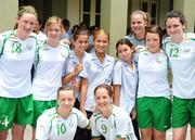 16 September 2010; Republic of Ireland players, from left, Jessica Gleeson, Emma Hansberry, Jillian Moloney, Rebecca Keanrey, Jennifer Byrne, Harriet Scott, 10, and Ciara O'Brien, 9, on a visit to St. Joseph's Convent ahead of their side's FIFA U-17 Women's World Cup Quarter-Final, against Japan, tomorrow. Republic of Ireland at the FIFA U-17 Women's World Cup - Thursday 16th September, St. Joseph's Convent, Port of Spain, Trinidad, Trinidad & Tobago. Picture credit: Stephen McCarthy / SPORTSFILE