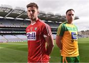 25 July 2016; Eoin Cadogan, Cork, and Martin McElhinney, Donegal, during a GAA Football All-Ireland Senior Championship Round 4B media event in Croke Park, Dublin. Photo by David Maher/Sportsfile