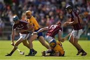 24 July 2016; Conor Cooney, 10, Conor Whelan, 13, and Joseph Cooney of Galway  in action against Cian Dillon and Óisin O'Brien, right, of Clare during the GAA Hurling All-Ireland Senior Championship quarter final match between Clare and Galway at Semple Stadium in Thurles, Co Tipperary. Photo by Ray McManus/Sportsfile