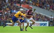 24 July 2016; Joe Canning of Galway in action against Jack O'Connor of Clare during the GAA Hurling All-Ireland Senior Championship quarter final match between Clare and Galway at Semple Stadium in Thurles, Co Tipperary. Photo by Daire Brennan/Sportsfile