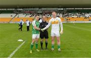25 June 2016; Referee David Coldrick with team captains David McGreevy of London, left, and Alan Mulhall of Offaly prior to the GAA Football All-Ireland Senior Championship Round 1B game between Offaly and London at O'Connor Park in Tullamore, Co Offaly. Photo by Piaras Ó Mídheach/Sportsfile