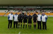 25 June 2016; Referee David Coldrick and his officials prior to the GAA Football All-Ireland Senior Championship Round 1B game between Offaly and London at O'Connor Park in Tullamore, Co Offaly. Photo by Piaras Ó Mídheach/Sportsfile