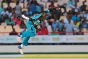 24 July 2016; Zouks bowler Jerome Taylor bowls during Match 23 of the Hero Caribbean Premier League match between St Lucia Zouks and Guyana Amazon Warriors at the Daren Sammy Cricket Stadium in Gros Islet, St Lucia. Photo by Ashley Allen/Sportsfile