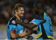 24 July 2016; Zouks captain Daren Sammy congratulates Shane Watson (L) during Match 23 of the Hero Caribbean Premier League match between St Lucia Zouks and Guyana Amazon Warriors at the Daren Sammy Cricket Stadium in Gros Islet, St Lucia. Photo by Ashley Allen/Sportsfile