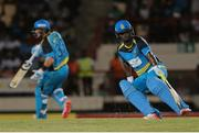 24 July 2016; Johnson Charles (R) and Shane Watson (L) run between the wickets during Match 23 of the Hero Caribbean Premier League match between St Lucia Zouks and Guyana Amazon Warriors at the Daren Sammy Cricket Stadium in Gros Islet, St Lucia. Photo by Ashley Allen/Sportsfile