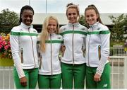 25 July 2016; Ireland Athletics team members, from left, Gina Akpe-Moses, Molly Scott, Sharlene Mawdsley and Ciara Neville on their return from IAAF World Junior Athletics Championships at Dublin Airport in Dublin. Photo by Eóin Noonan/Sportsfile *** NO REPRODUCTION FEE ***