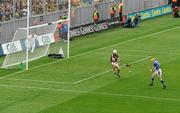 5 September 2010; Lar Corbett, Tipperary, scores his and his side's first goal past Kilkenny goalkeeper P.J Ryan. GAA Hurling All-Ireland Senior Championship Final, Kilkenny v Tipperary, Croke Park, Dublin. Picture credit: Brendan Moran / SPORTSFILE