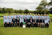 17 September 2010; Winners of the Bulmers Pierce Purcell Cup, the Curragh Golf Club, Co. Kildare, team of back row, left to right, Jimmy Murphy, Pat Houlihan, Tommy Tobin, Derek Farrell, Pat O'Sullivan, Ross Houlihan, Ewlyn Howard, Paul Hogan, Derek Killy, Michael Kennelly, Paul Hensey, Paddy Geraghty, Brian Daly, Frank Kenny, Gerry 'Spider' Maher. Front row, left to right, Eddie Trant, Justin Murphy, Seamus Smith, General Secretary GUI, Antoinette Starken, Lady Captain Castlebar Golf Club, Chris Lowry, Team Captain, Seamus Rothwell, Club Captain, Mick Byrne, Club Captain Castlebar Golf Club, Sean MacMahon, President GUI, Marcus Goodwin, Brand Manager Bulmers, John Farragher, President Castlebar Golf Club, Brendan Daly. Bulmers Cups and Shields Finals 2010, Castlebar Golf Club, Co. Mayo. Picture credit: Ray McManus / SPORTSFILE
