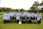 17 September 2010; Winners of the Bulmers Pierce Purcell Cup, the Curragh Golf Club, Co. Kildare, team of back row, left to right, Jimmy Murphy, Pat Houlihan, Tommy Tobin, Derek Farrell, Pat O'Sullivan, Ross Houlihan, Ewlyn Howard, Paul Hogan, Derek Killy, Michael Kennelly, Paul Hensey, Paddy Geraghty, Brian Daly, Frank Kenny, Gerry 'Spider' Maher front row, left to right, Eddie Trant, Justin Murphy, Seamus Smith, General Secretary GUI, Antoinette Starken, Lady Captain Castlebar Golf Club, Chris Lowry, Team Captain, Seamus Rothwell, Club Captain, Mick Byrne, Club Captain Castlebar Golf Club, Sean MacMahon, President GUI, Marcus Goodwin, Brand Manager Bulmers, John Farragher, President Castlebar Golf Club, Brendan Daly. Bulmers Cups and Shields Finals 2010, Castlebar Golf Club, Co. Mayo. Picture credit: Ray McManus / SPORTSFILE