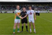 9 July 2016; Referee Pádraig Hughes with team captains Alan Mulhall of Offaly, left, and Eoin Doyle of Kildare prior to the GAA Football All-Ireland Senior Championship - Round 2B match between Kildare and Offaly at St Conleth's Park in Newbridge, Kildare.  Photo by Piaras Ó Mídheach/Sportsfile