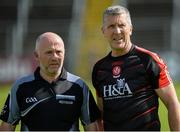 23 July 2016; Referee Marty Duffy and Derry manager Damian Barton during their GAA Football All-Ireland Senior Championship, Round 4A, game at Kingspan Breffni Park in Co Cavan. Photo by Oliver McVeigh/Sportsfile
