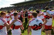 23 July 2016;  Derry selector Brian McGuckin, centre, under the watchful eye of Derry Manager Damian Barton during the final team talk before their GAA Football All-Ireland Senior Championship, Round 4A, game at Kingspan Breffni Park in Co Cavan. Photo by Oliver McVeigh/Sportsfile