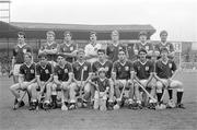 6 September 1987; The Galway team, back row, left to right, Brendan Lynskey, Pete Finnerty, Steve Mahon, John Cummins, Tony Keady, Martin Naughton, Ollie Kilkenny, front row, left to right, Joe Cooney, Pat Malone, Michael McGrath, Sylvie Linnane, Conor Hayes, Anthony Cunningham, Gerry McInerney, Éanna Ryan, with mascot Nigel Murray. All Ireland Senior hurling Final, Galway v Kilkenny, Croke Park, Dublin. Picture credit; Ray McManus/SPORTSFILE