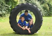 27 July 2016; Rob Kearney of Leinster with participants, Daniel O'Shea, aged 10, from Lucan, Co Dublin, and Olivia Campbell, aged 9, from Tallaght, Co Dublin, during the Bank of Ireland Leinster Rugby Summer Camp at Clondalkin RFC in Kingswood Cross, Dublin. Photo by Daire Brennan/Sportsfile