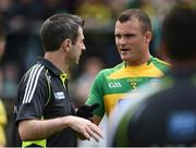 12 June 2016; Donegal manager Rory Gallagher, left, along with Neil McGee of Donegal during their Ulster GAA Football Senior Championship Quarter-Final match between Fermanagh and Donegal at MacCumhaill Park in Ballybofey, Co. Donegal. Photo by Oliver McVeigh/Sportsfile