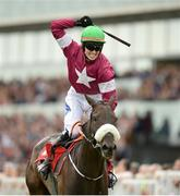 27 July 2016; Donagh Meyler celebrates winning the TheTote.com Galway Plate Steeplechase Handicap on Lord Scoundrel at the Galway Races in Ballybrit, Co Galway. Photo by Cody Glenn/Sportsfile