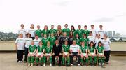 16 September 2010; The Republic of Ireland squad, management and staff. Back row, from left, Brian King, Scout, Andrew Hussey, Team Operations Executive, Ciara O'Brien, Aileen Gilroy, Jessica Gleeson, Zoe Boyd, Jennifer Byrne, Tanya Kennedy, Rianna Jarrett, Megan Campbell, Eoin Killackey, Video Analyst, Fran Whearty, Communications Executive, middle row, from left, Gemma Cassidy, Equipment Officer, Suzi Clarke, Team Doctor, Claire Scanlan, Coach, Harriett Scott, Siobhán Killeen, Amanda Budden, Grace Moloney, Jill Maloney, Clare Shine, Ciara Grant, Sharon Boyle, Coach, Ursula Brooks, Physiotherapist, Pauline O'Shaughnessy, Head of Delegation, front row, from left, Niamh McLaughlin, Emma Hansberry, Denise O'Sullivan, Noel King, Manager, Dora Gorman, Captain, Harry Kenny, Assistant Manager, Kerry Glynn, Rebecca Kearney and Stacie Donnelly. Republic of Ireland at the FIFA U-17 Women's World Cup - Squad Photos, Hilton Trinidad, Lady Young Road, Port of Spain, Trinidad, Trinidad & Tobago. Picture credit: Stephen McCarthy / SPORTSFILE